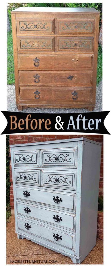 Art Deco Chest of Drawers in Robin's Egg Blue – Before & After
