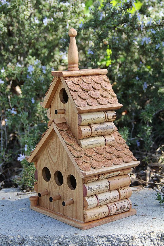 Double Decker wine cork birdhouse by CarefullyCorked on Etsy