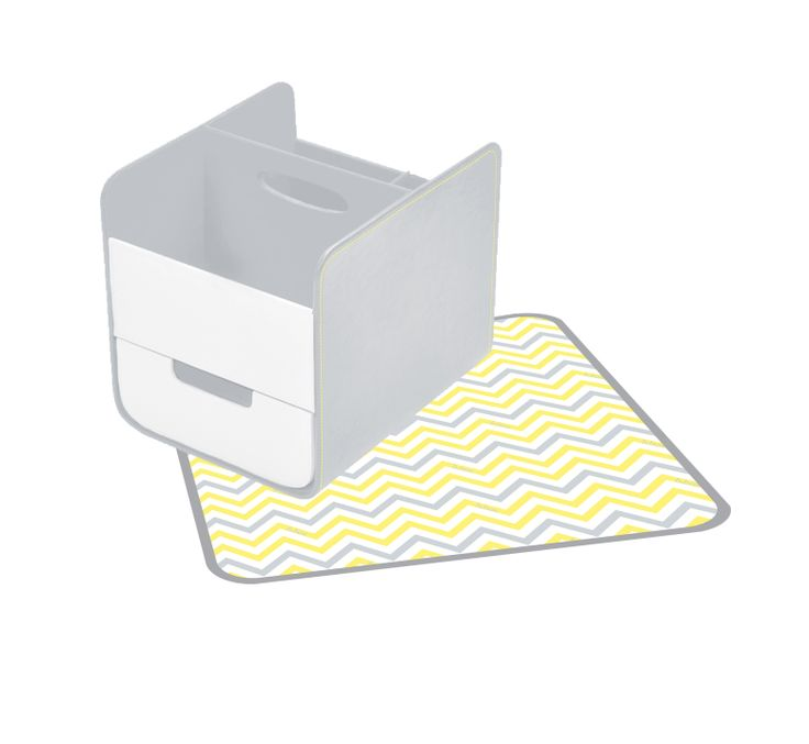 stylish addition to any nursery. grey and yellow Mellow Lellow - Diaper/Nappy Caddy  http://www.bbox.com.au/shop/essential-nappy-caddy/essential-nappy-caddy-mellow-lellow