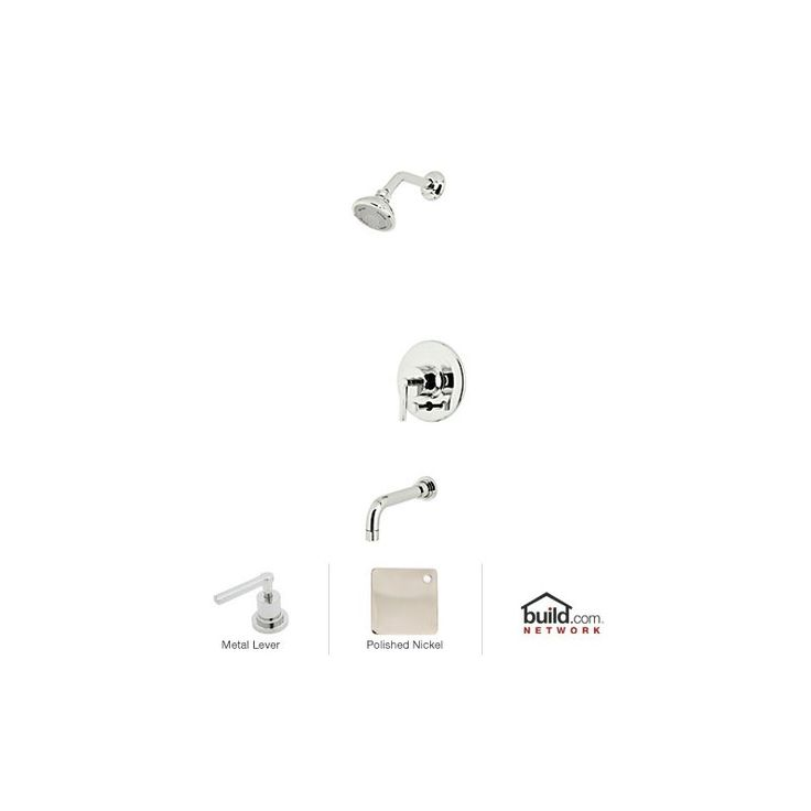 Rohl LOKIT21LM Lombardia Shower System with Shower Head Shower Arm Tub Spout Polished Nickel Faucet Shower System Single Handle