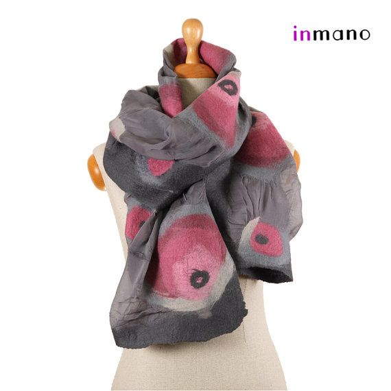 nuno felted wrap scarf gray and roses II  silk and wool by inmano