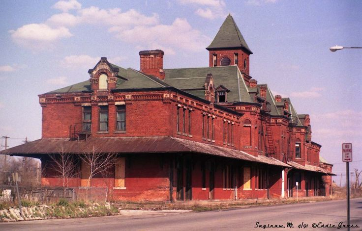 Potter Street Station, Saginaw, Mi   Built in 1881, it is still standing today, abandoned in a blighted neighborhood.  A preservation group has tried to raise funding to save it, but it's potential is very limited because of its location.  I fear this beautiful old building will soon be razed.