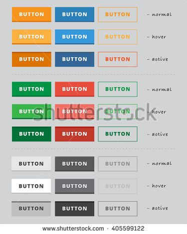 Collection of multi-colored buttons to your website, the three states of a button: normal, hover, active.