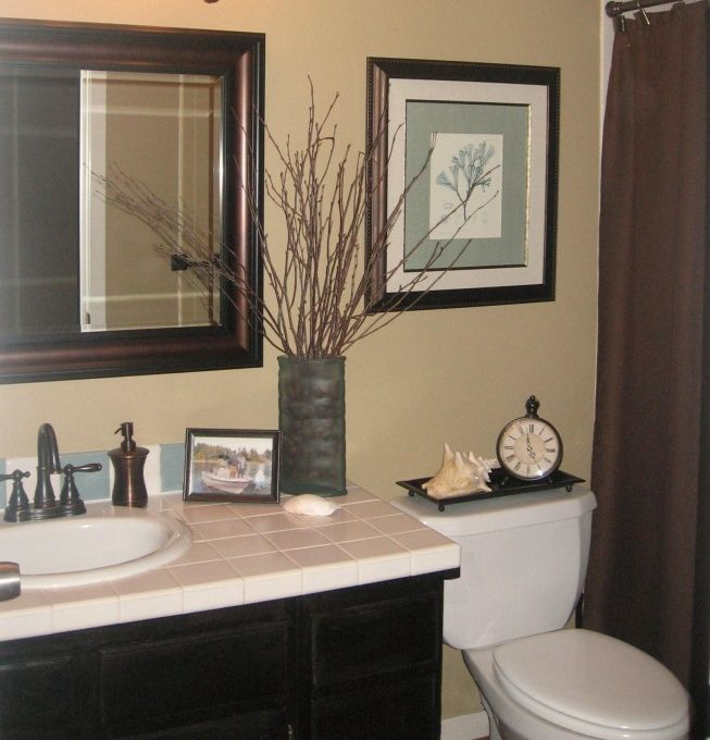 Quick guest bath makeover total cost 240 chocolate brown blue tan decor pinterest Beige brown bathroom design