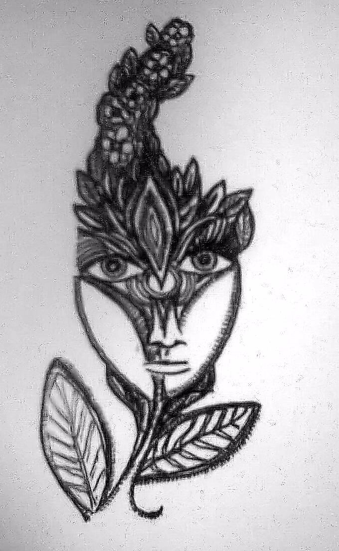 One of my small drawings, many of them have had some use as tattoo designs.