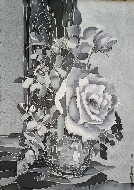 """Купить """"Белая роза,  натюрморт на шелке"""", батик, картина на шелке - натрюрморт, роза, гризайль, Батик"""