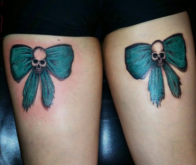 Tattoo Woman Power: Teal Bows With Skulls. Tattoo By Nikki ( Me ) At Finest Of