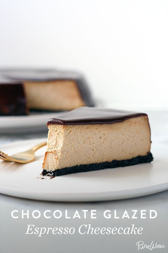 Chocolate Glazed Espresso Cheesecake via @PureWow