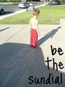 Learn about time and earths rotation around the sun - be the sundial!