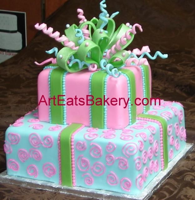 Two Tier Square Pink Green And Tiffany Blue Fondant Custom Designed Young Ladys Birthday Cake With Sugar Bow