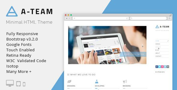 A-TEAM: Minimal & Responsive HTML5 Blog Template - Personal Site Templates