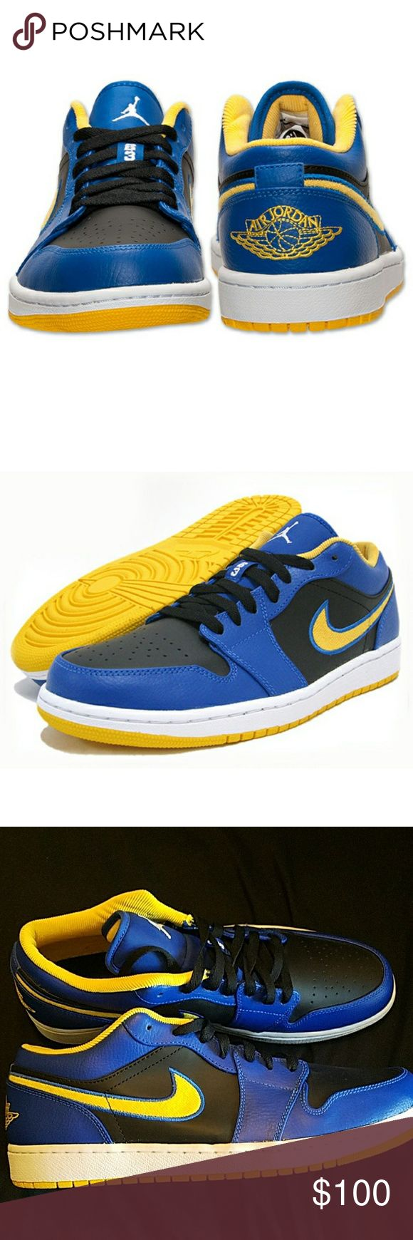 Air Jordan 1 Low Game Royal/Varsity Maize The all-leather upper pairs royal blue overlays with black inlays, setting the table with complementary shades before gold on the Swoosh, inner-lining and outsole starkly contrasts.  New without box, bever worn Nike Shoes Sneakers