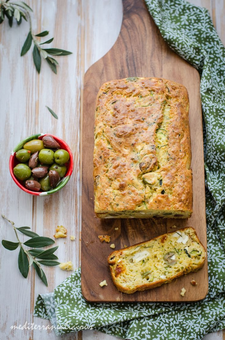 Super easy to make savory zucchini bread with olives, feta, parmesan and chorizo!