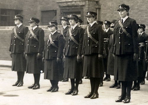 Some of the very first female police officers in Britain. This style of uniform was worn throughout WW2.