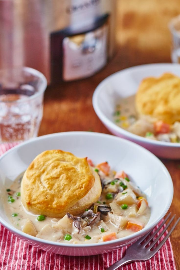 Slow Cooker Veggie Pot Pie Recipe. Make this EASY, healthy vegetarian soup in your crockpot! Serve it with homemade or store bought biscuits for a hearty cold weather comfort food meal with a twist.