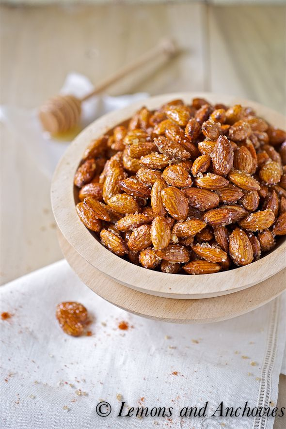 Spicy Honey Roasted Almonds: really yummy! Made them for a hostess gift in December! Embarrassingly easy to make.