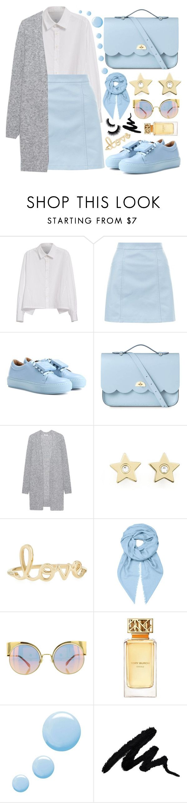 """""""Blue!"""" by sanela-enter ❤ liked on Polyvore featuring Y's by Yohji Yamamoto, New Look, Acne Studios, The Cambridge Satchel Company, Tommy Hilfiger, Sydney Evan, Loewe, Fendi, Tory Burch and Topshop"""