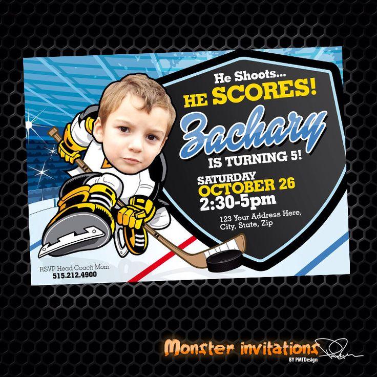 Hockey Invitation - Hockey Party - Hockey Birthday - Tailgate - Sports Birthday - Printable Party - Hockey Ice by MonsterInvitations on Etsy https://www.etsy.com/listing/169265559/hockey-invitation-hockey-party-hockey
