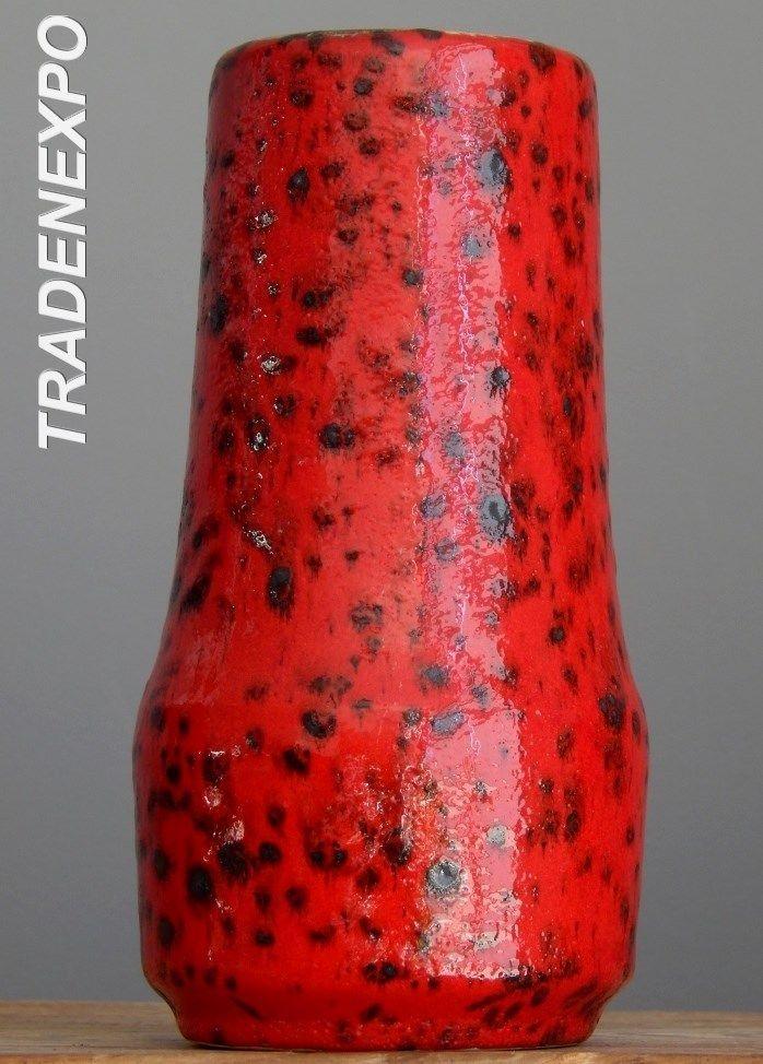 Vintage 1960-70's SCHEURICH 529/18 Red Vase West German Pottery Fat Lava Era