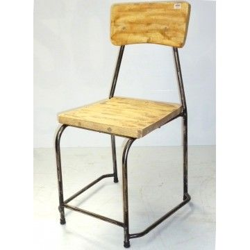 Dining chair Metal with Boat Wood white washed