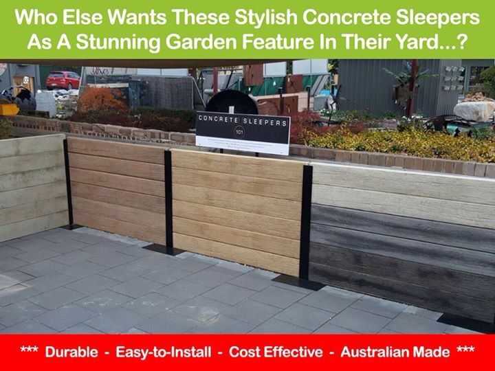 Woodgrain Look Concrete Sleepers: An easy and affordable way to build a beautiful looking retaining wall, stunning garden bed or stylish walk-way.