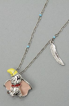 disney couture jewelry dumbo and feather pendant necklace
