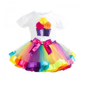 Charming Fairy Sequin Rainbow Tutu Dress for Girls