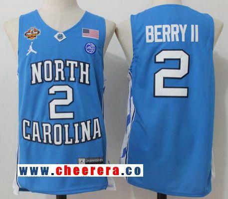 Men's North Carolina Tar Heels #2 Joel Berry II Light Blue Final Four Patch College Basketball 2017 Brand Jordan Swingman Stitched NCAA Jersey