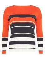 Womens Orange and Navy Stripe Jumper- Orange