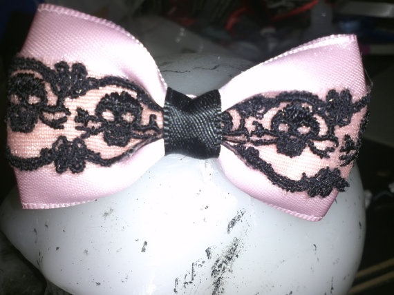 It's Complicated Pink and Black Skull Lace Hair Bow by MmPresents, $6.75