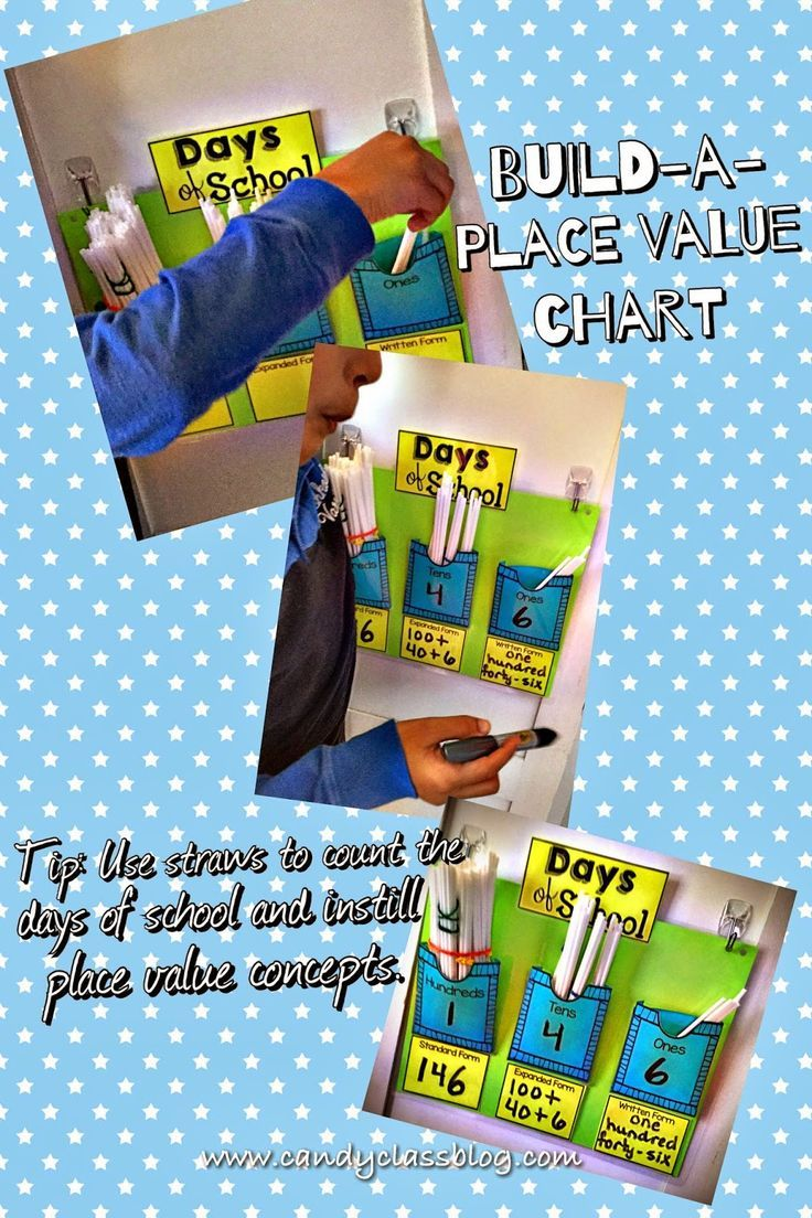 Count the days of school using straws! Place value chart is FREE at this blog (and it might only be there for a limited time.)
