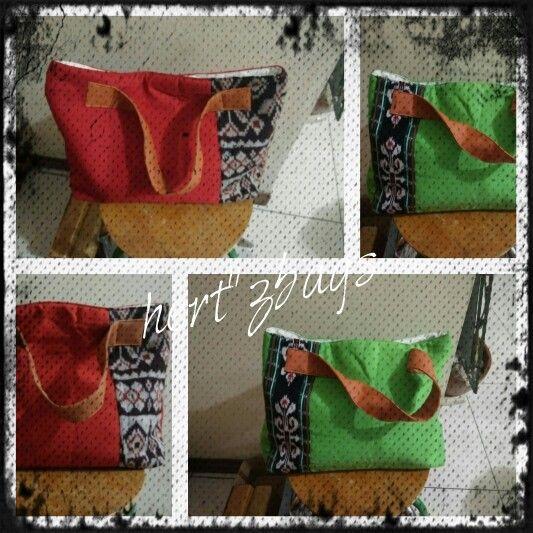 Tote bag with combination tradicional fabric