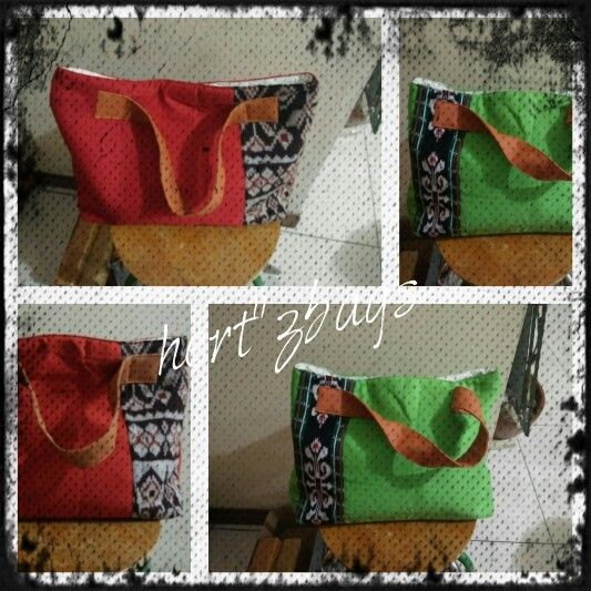Tote bag with combination tradicional fabric