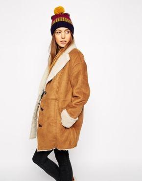 Abrigo de piel de oveja sintética de estilo vintage de ASOS