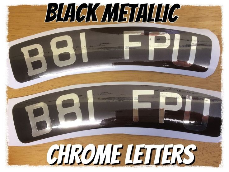 scooter number plate decals x2 comes in black metallic chrome and chrome letters  | eBay