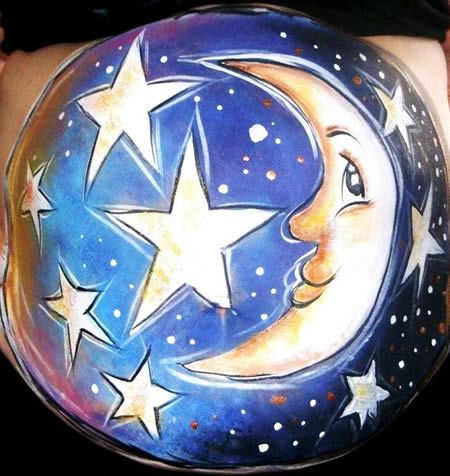 14 Coolest Pregnant Belly Paintings - Oddee.com (pregnant bellies)