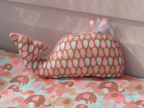 whale plush toy, softie toy, taggie, baby toy with ribbons, in pinks & blue,  baby shower gift, nautical toy on Etsy, $16.71