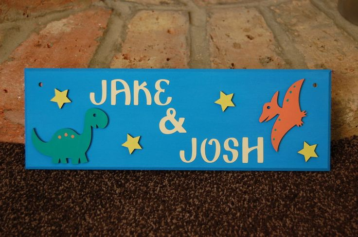 Childrens Door sign/plaque for shared room. Dinosaurs, any 2 Names, colours Kids