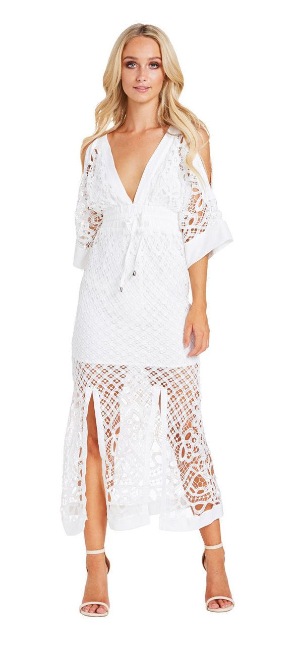 Corfu Maxi Dress (White) - Miss G