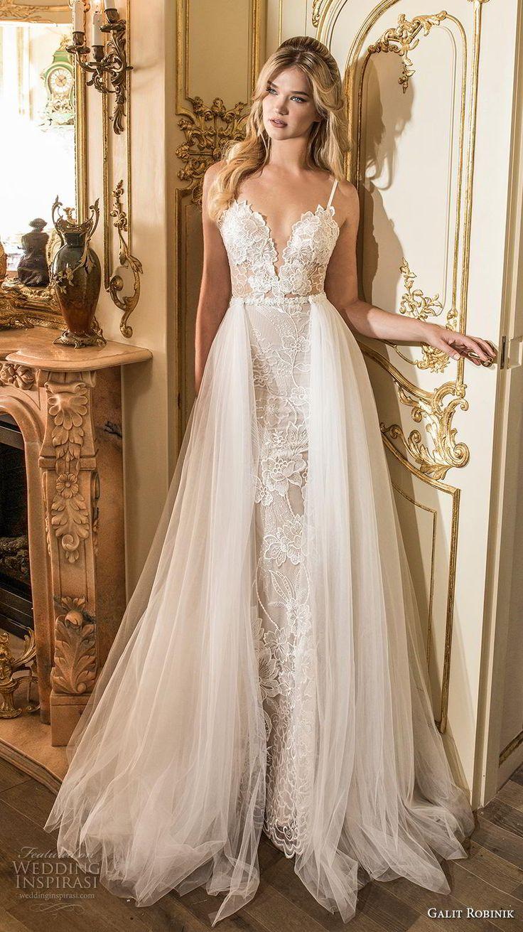 galit robinik 2019 bridal thin strap deep sweetheart neckline full embellishment…