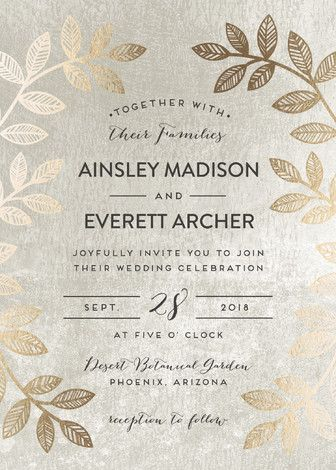 """Folk Filigree"" - Modern, Rustic Foil-pressed Wedding Invitations in Linen by pandercraft."