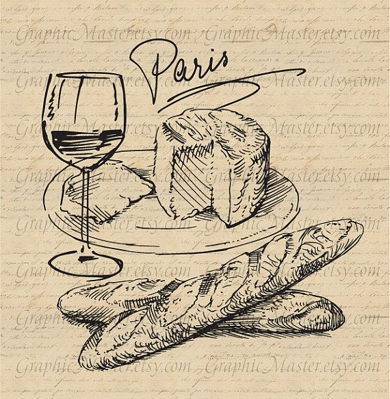 Paris French Food Wine Cheese Traveling Graphics by ...