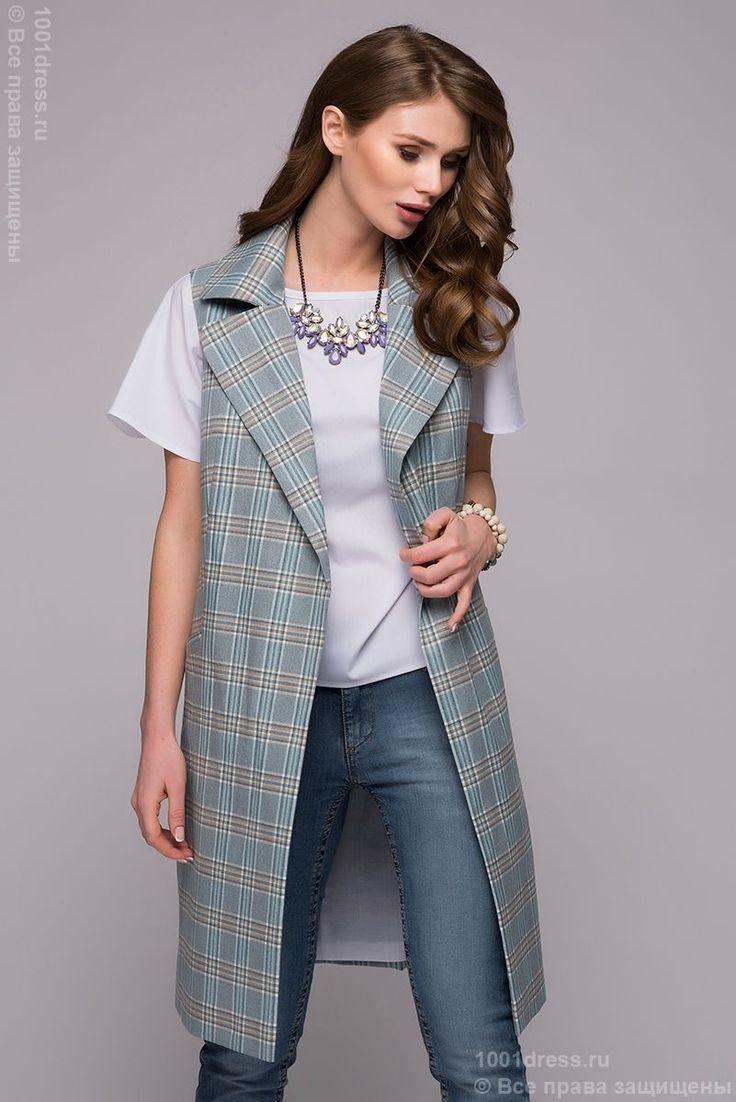Удлиненный жилет голубой в клетку с отложным воротником и карманами в интернет-магазине 1001 DRESS