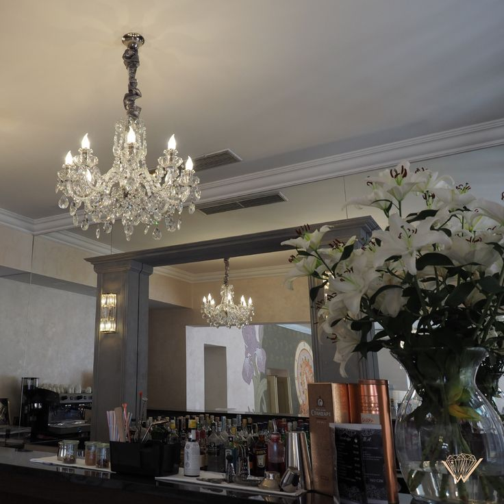 One of our crystal chandeliers in the hotel bar of the Myo Hotel Caruso in Prague.