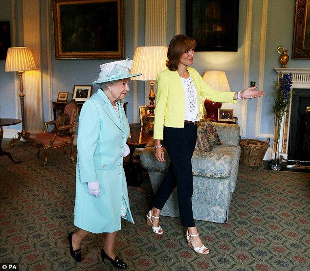 Greeting: The Queen was also introduced to Antiques Roadshow's presenter, Fiona Bruce