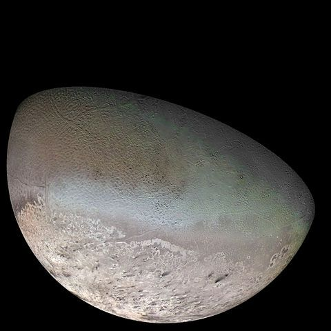 What is retrograde motion? | EarthSky 2/6/17, caused by Earth's passing these slower-moving outer worlds. But there's a real retrograde motion, too. A photomosaic from Voyager 2 of Neptune's largest moon, Triton. The moon orbits Neptune opposite the direction that the planet rotates. Does this mean that Triton came from the Kuiper Belt and was eventually captured by the ice giant? NASA / Jet Propulsion Lab / U.S. Geological Survey.