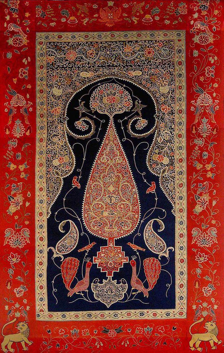 Persian Textile. Silk Rashti- Duzi Embroidery on Felt Prayer Design Wall Hanging Qajar Dynasty. Circa 1860