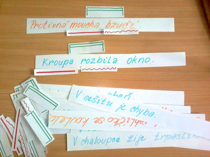 Základní skladební dvojice, spojování a podtrhávání pomocí kartiček.