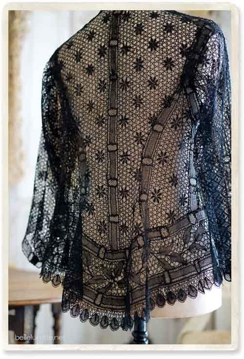 Франция 19-го века кружева куртка черная - [Белл Lurette] Европа Франция античный кружева белье одежда почте