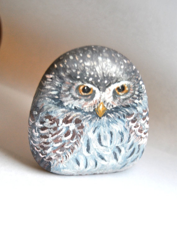 Hand Painted Stone Winter Barn Owl  River rock Art by LadyBugCo,